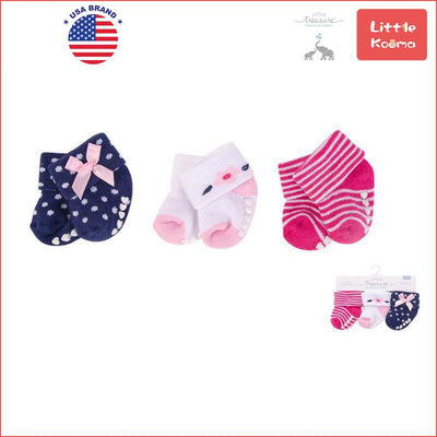 New Born Baby Terry Socks 3 Pack 76223CH Polished - Little Kooma
