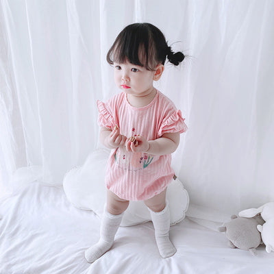[ZBG11] Baby Girl Puff Sleeve Bodysuit w Printed Bunnies - Little Kooma