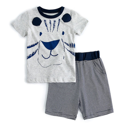 Kids Baby Boy's Grey Tiger T-shirt Dark Blue Striped Shorts Set - 1021 - Little Kooma