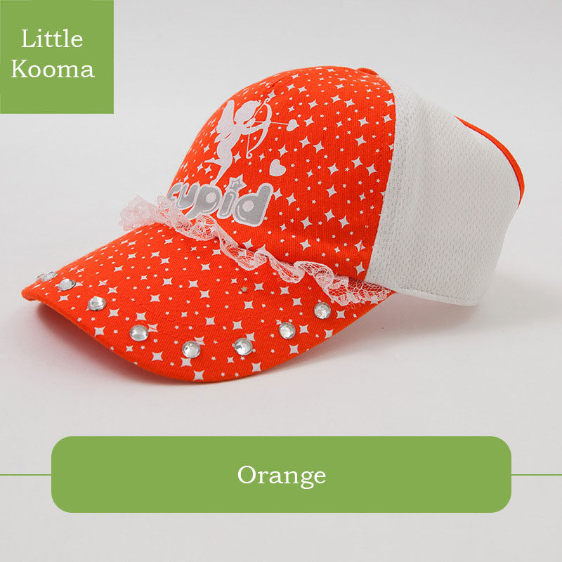 Girls Orange Glitz Lace Trucker Cap Baseball Cap Sun Cap