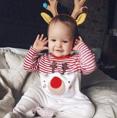 Baby Christmas Outfit Splicing Elk All In One - 1125 - Little Kooma