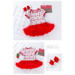 Baby Girl Christmas Romper Dress w Headwrap