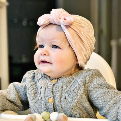 Baby Girl's Velour Turban Hat w Bow - 0816 - Little Kooma