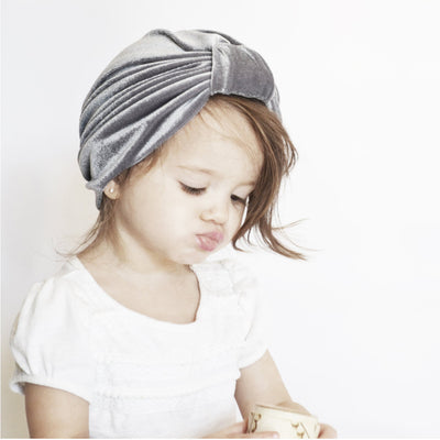Baby Girl's Velour Turban Hat w Knot - 0816 - Little Kooma