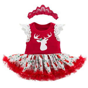 Baby Girl Reindeer Christmas Romper Dress w Headwrap