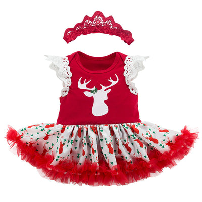 Baby Girl Reindeer Christmas Romper Dress w Headwrap - Little Kooma