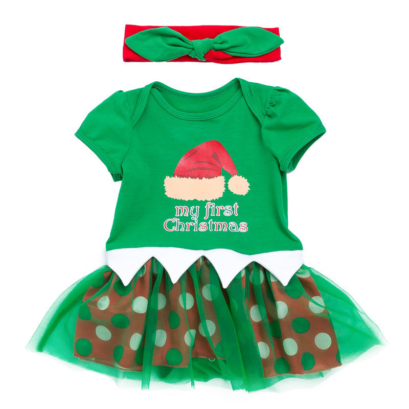 Baby Girl Green Christmas Romper Dress w Headwrap