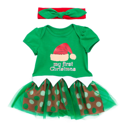 Baby Girl Green Christmas Romper Dress w Headwrap - Little Kooma