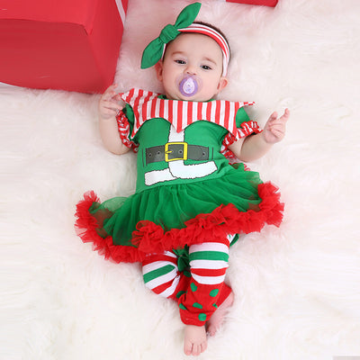 Baby Girl Green Christmas Romper Dress w Socks & Headwrap - Little Kooma