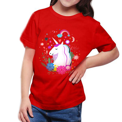 Kids Red T-shirt w Unicorn - Little Kooma