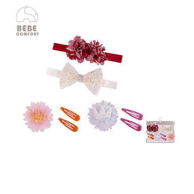 BEBE Comfort Headwraps n Hair Clips 8 Pcs Set BC73152 - 1103 - Little Kooma