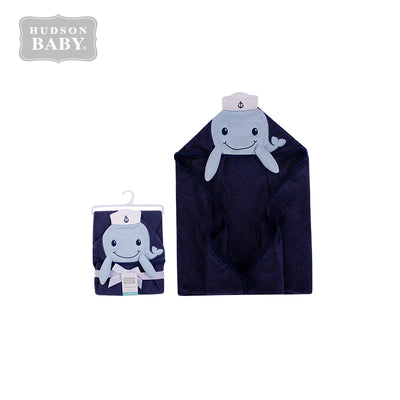 Baby Animal Hooded Towel(Woven Terry) 00346CH Dark Blue Dolphin - Little Kooma