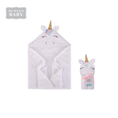 Baby Animal Hooded Towel(Woven Terry) 00354CH White Unicorn - Little Kooma