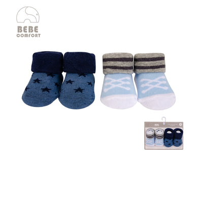 Baby Anti-slip Socks 2 Pair Pack 0-9 months BC71159 - 0805 - Little Kooma
