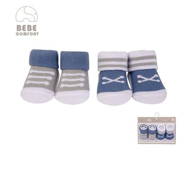 Baby Anti-slip Socks 2 Pair Pack 0-9 months BC71161 - 0805 - Little Kooma