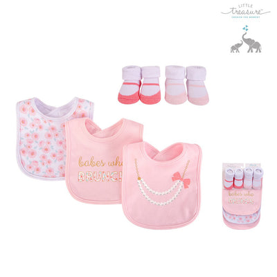 Baby Bibs n Socks 5 Pcs Set 75524 - 0528 - Little Kooma