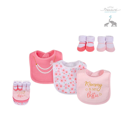 Baby Bibs n Socks 5 Pcs Set 75530 - 0528 - Little Kooma