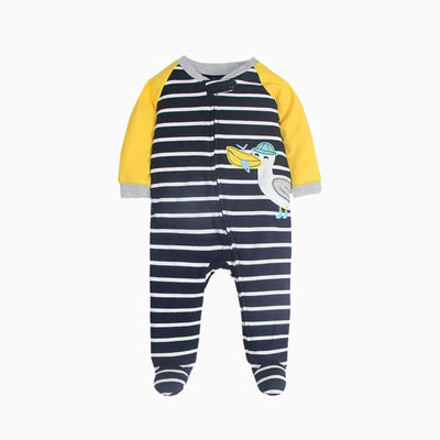 Baby Black Striped Splicing Sleepsuit w Pelican Zip - 0622 - Little Kooma