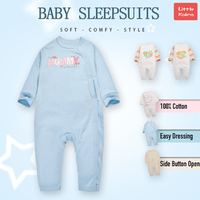 Baby Blue w White Dots Mummy Is Beautiful Jumpsuit All In One - Little Kooma
