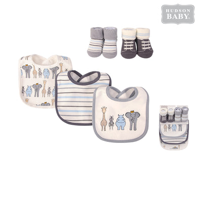 Baby Boy Bibs n Socks 5 Pcs Set 56221 - 1204 - Little Kooma