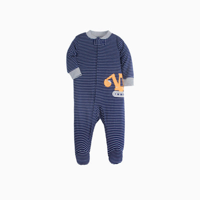 Baby Boy Dark Blue Striped Sleepsuit w Digger Feet Covered Zip All In One - 0813 - Little Kooma
