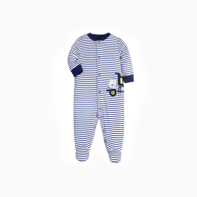 Baby Boy Dark Blue Striped Sleepsuit w Truck Feet Covered Buttons All In One - Little Kooma