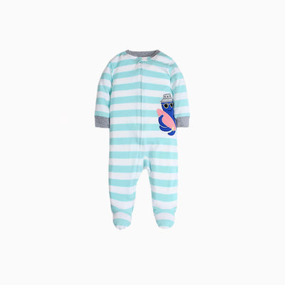 Baby Boy Sleepsuit w Octopus Feet Covered Zip All In One - 0813 - Little Kooma