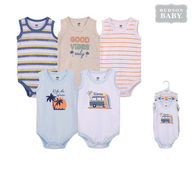 Baby Boy Sleeveless Bodysuit 5 Piece Pack Gone Surfing 53316 - 1204 - Little Kooma