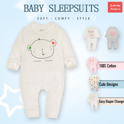Baby Cheeky Monkey White Jumpsuit All In One - Little Kooma