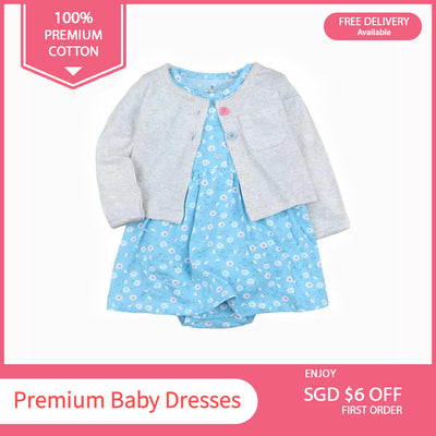 Baby Girl Blue w Little Flowers Bodysuit Dress n Grey Cardigan 2pc Set - 0622 - Little Kooma