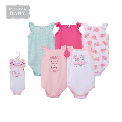 Baby Girl Cami Bodysuit 5 Piece Pack Pink Happy Camper 55839 - 1204 - Little Kooma