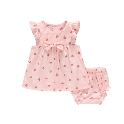 Baby Girl Cherry Dress n Knicker 2 Piece Set - Little Kooma
