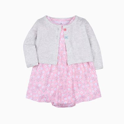Baby Girl Pink w Little Flowers Bodysuit Dress n Grey Cardigan 2pc Set - 0622 - Little Kooma