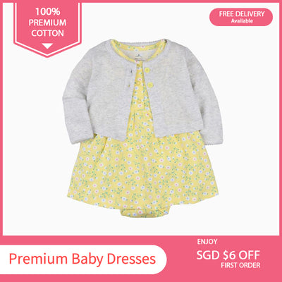 Baby Girl Yellow w Little Flowers Bodysuit Dress n Grey Cardigan 2pc Set - 0622 - Little Kooma