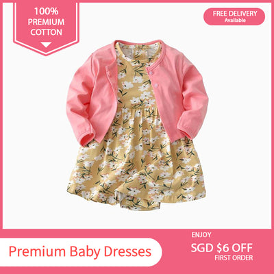 Baby Girl Yellow w White Flowers Bodysuit Dress n Pink Cardigan 2pc Set - 0701 - Little Kooma