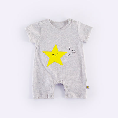 Baby Grey Romper w Yellow Star  - 0902 - Little Kooma