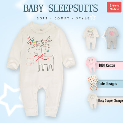 Baby Merry & Bright Reindeer White Jumpsuit All In One - Little Kooma