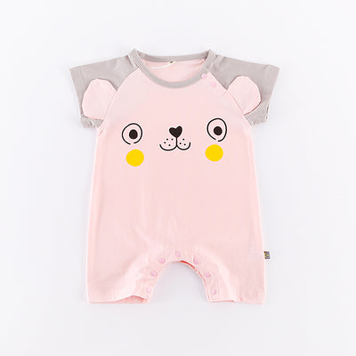 Baby Pink Bear Grey Splicing Sleeves Romper - 0902 - Little Kooma