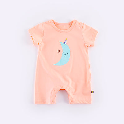 Baby Pink Romper w Blue Moon  - 0902 - Little Kooma