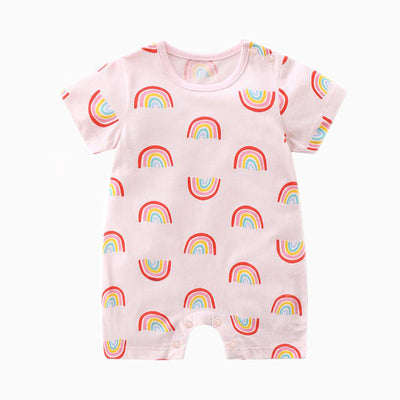 Baby Romper Pink w Rainbows - Little Kooma