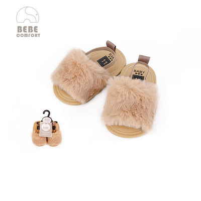 Baby Shoes Brown Fur Sandals 6-12 months/12-18 months BC31040 - 0805 - Little Kooma