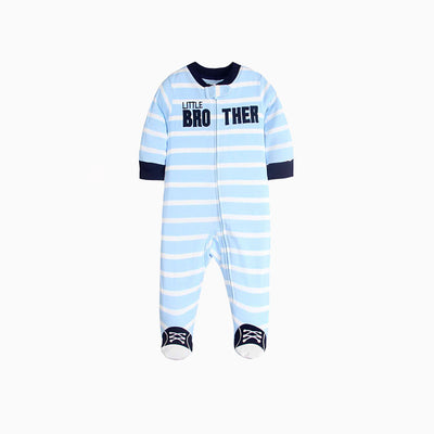 Baby Sleepsuit Blue Striped w Little Brother Feet Covered Zip - 0822 - Little Kooma