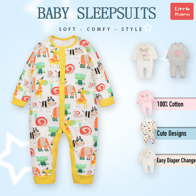 Baby Sleepsuit Snail Frog Elephant Giraffe Jumpsuit All In One - Little Kooma