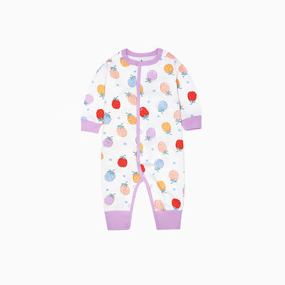 Baby Sleepsuit White w Fruits Feet Uncovered - 0813 - Little Kooma