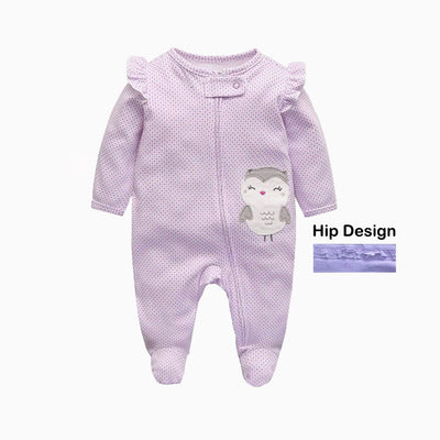 Baby Sleepsuits Purple Owl Full Zip - 0625 - Little Kooma