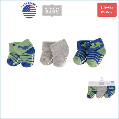 New Born Baby Terry Socks 3 Pack 00374 - 1204 Dinosaur - Little Kooma