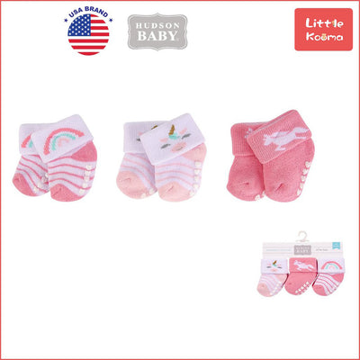 New Born Baby Terry Socks 3 Pack 00375 - 1204 Unicorn Rainbow - Little Kooma