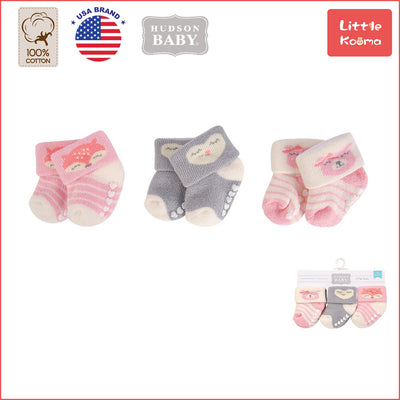 New Born Baby Terry Socks 3 Pack 00376 - 1204 Fox - Little Kooma