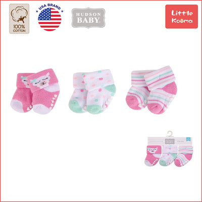 New Born Baby Terry Socks 3 Pack 00377 - 1204 Colorful Dots - Little Kooma