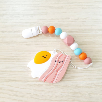 Food Grade Silicone Baby Teether - Bacon and Egg - Little Kooma